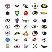 picture of angry smiley  - Set of cartoon vector monster eyes over white background  - JPG