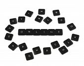 Word online made of keyboard buttons isolated
