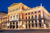 picture of wieners  - Wiener Musikverein at evening famous concert hall and landmark of Vienna - JPG