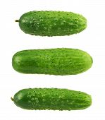 image of foreshortening  - Green fresh cucumbers isolated over white background - JPG
