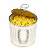 Metal can full of corn kernels isolated