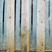 Broken glass window fragment