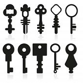 Set Of Silhouettes Of Door Keys Vector