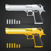 pic of ammo  - Gold and silver gun art set - JPG
