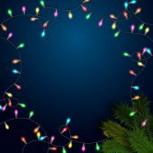 Elegant background with light garland and Christmas tree branch.