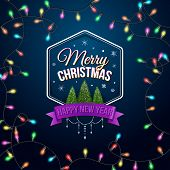 Typographic label Merry Christmas and Happy New Year. Use it for