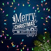 Christmas card with typography design. Blue background, realisti
