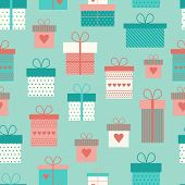 Vector Seamless Pattern With Flat Gift Boxes