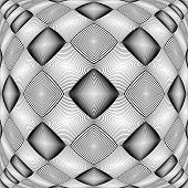 Design Warped Monochrome Geometric Diamond Pattern