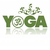foto of raja  - Abstract colorful illustration with green floral elements above the word Yoga written with green letters - JPG