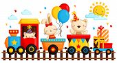image of birthday hat  - a Birthday Train with many animal in it vector art and illustration - JPG