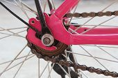 picture of bicycle gear  - image of the pink bicycle chain stay - JPG