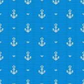 picture of knitting  - Seamless knitted pattern with anchors - JPG