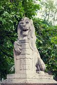 stock photo of armorial-bearings  - Stone lion with a board in paws near the Vajdahunyad castle in Budapest - JPG