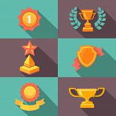 Awards and trophy icons  flat vector illustration