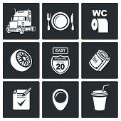 Work Truckers Vector Icon Set