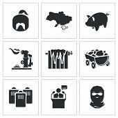 Ukraines Energy Problems Vector Icons Set