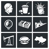 Usa Policy Vector Icons Set