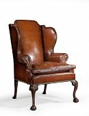 Antique Leather Wing Chair Carved Legs Isolated With Clip Path