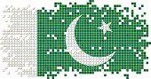 Pakistani grunge tile flag. Vector illustration