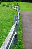 stock photo of split rail fence  - Split rail fence found in Green Lane Park, PA ** Note: Shallow depth of field - JPG