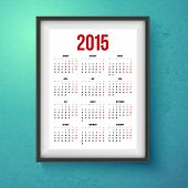Calender for year 2015. Realistic photo frame on the wall. Vector il