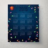 Calender for year 2015 Blue backdrop with garland. Vector illustrat