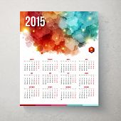 Calender for year 2015 Hexagon pattern background. Vector illustrat