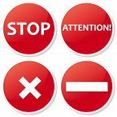 image of banned  - Set red ban icons isolated on a white for web site - JPG