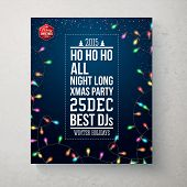 Merry Christmas and Happy new year party poster. Dark blue backg