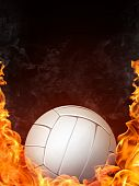 stock photo of volleyball  - Volleyball Ball on Fire on Black Background - JPG