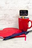 Red Cup Heart Shaped Notepad And Quill. Valentine's Day Surprise.