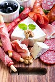 pic of cheese platter  - Catering platter with different meat and cheese - JPG