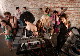 foto of lps  - Female DJs Rocking a Disco Music Party - JPG