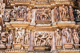image of kamasutra  - Erotic Human Sculptures at Vishvanatha Temple Western temples of Khajuraho Madhya Pradesh India - JPG