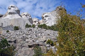 stock photo of mount rushmore national memorial  - Mount Rushmore National Memorial carvings of four presidents - JPG