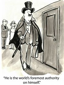 foto of pompous  - Cartoon of two business people saying about man in top hat - JPG