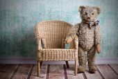 picture of ugly  - Ugly vintage Teddy bear with wicker chair - JPG
