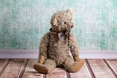 picture of ugly  - Ugly sitting old brown vintage Teddy bear - JPG