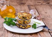 pic of veggie burger  - Vegetarian patties or burger made with chickpeas on white plate - JPG