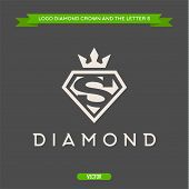 foto of crown jewels  - Diamond with the letter S and flat crown vector logos - JPG