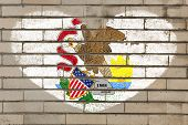 image of illinois  - heart shaped flag in colors of illinois on brick wall - JPG