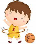 stock photo of hula hoop  - a vector of a kid playing with hula hoop - JPG