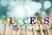 Постер, плакат: Hands Arrange A Success Text