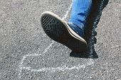 picture of strangle  - Dead woman laying on asphalt - JPG