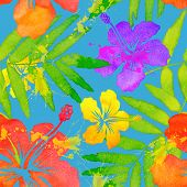 picture of vivid  - Vivid colors bright tropical flowers watercolor vector seamless pattern - JPG