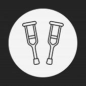 pic of crutch  - Crutch Line Icon - JPG
