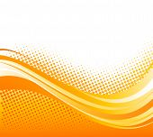 foto of orange  - Vector Abstract orange color curved lines background with halftone - JPG