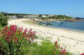 Oude stad strand Red Valeriaan, St. Mary's, Isles Of Scilly, Cornwall Verenigd Koninkrijk.