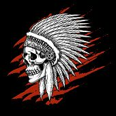 picture of apache  - Indian tribal skull with feathers emblem - JPG